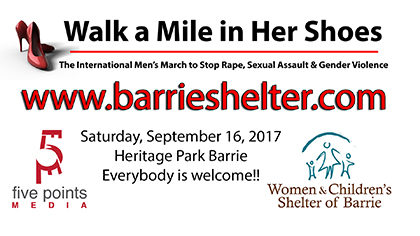 Walk a Mile In Her Shoes, 2017 - The Women and Children's Shelter of Barrie